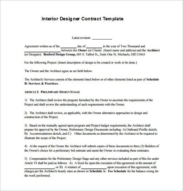 8 Interior Designer Contract Templates Free Word PDF Documents