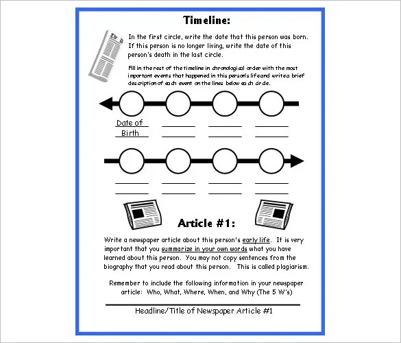 5 biography timeline templates