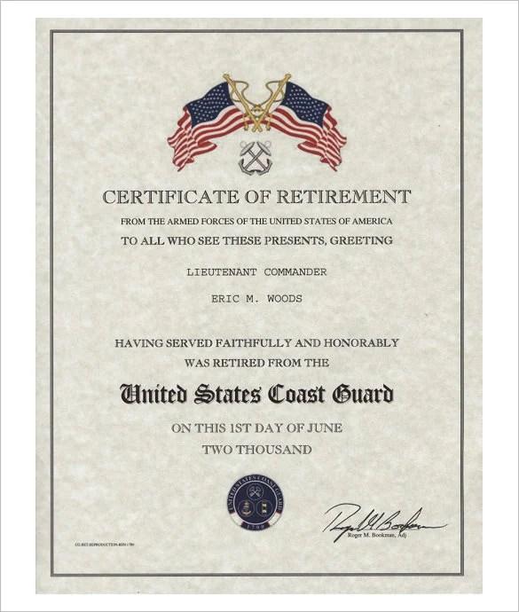 9 Retirement Certificate Templates DOC PDF Free