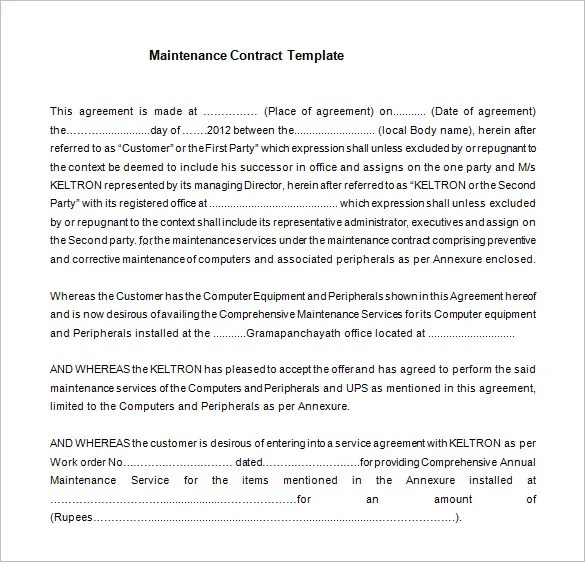Service Contract Template. Lawn Maintenance Agreement Part The ...