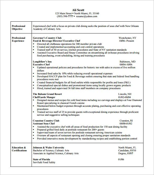 culinary arts resume templates