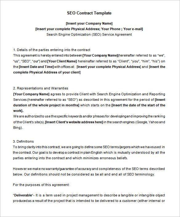 4 SEO Contract Templates DOC PDF Free & Premium