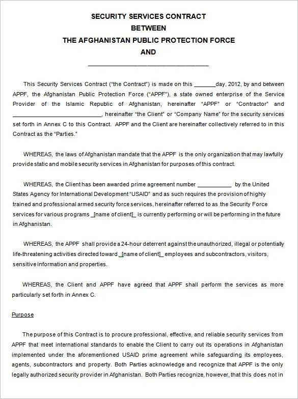 14 Security Contract Templates DOC PDF Free