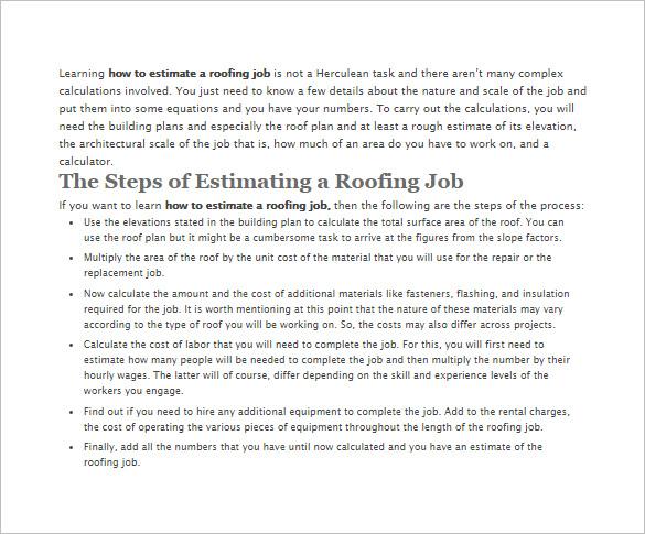 11 Roofing Estimate Templates PDF DOC Free & Premium