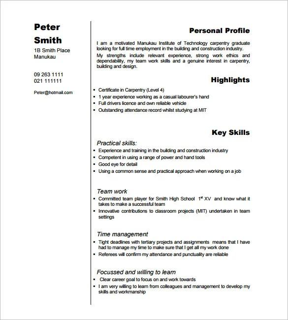 Carpenter Resume Example Unforgettable Apprentice Carpenter