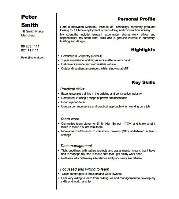 resumes for carpenters