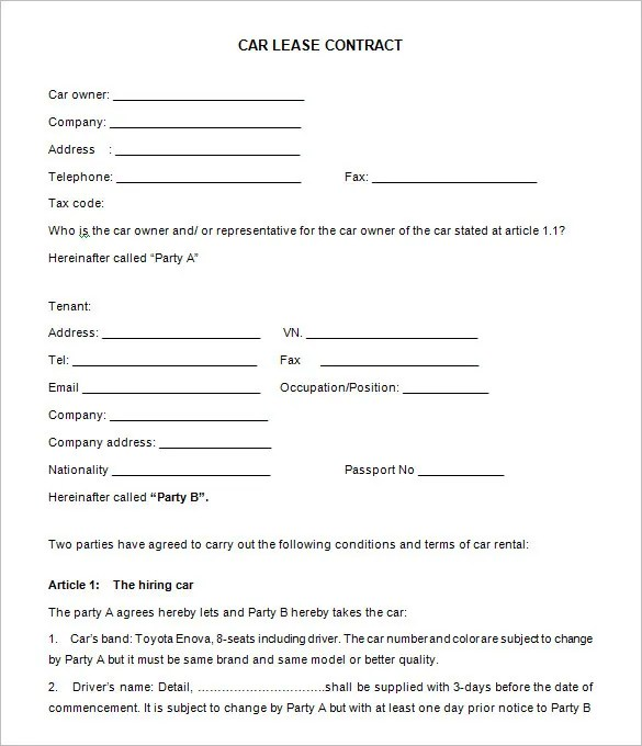 car leasing agreement template – Sample Vehicle Lease Agreement