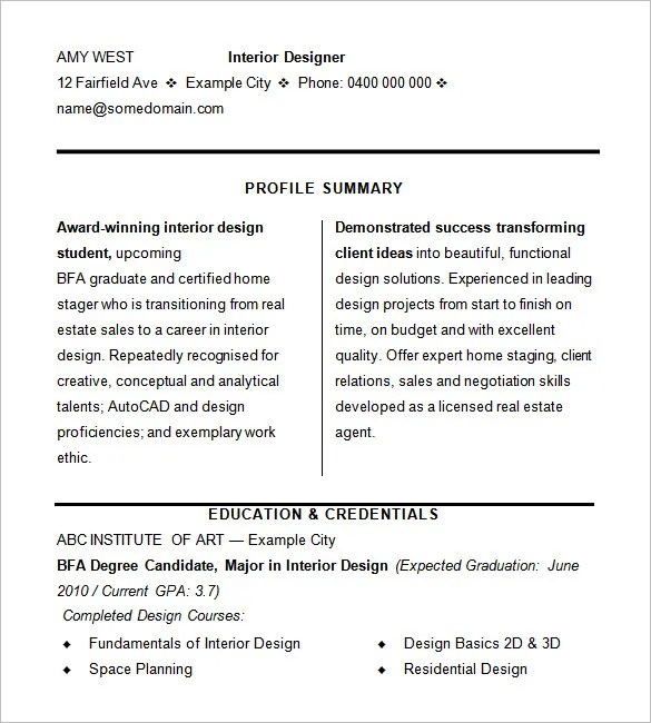 Interior Designer Resume Samples Europe Tripsleep Co