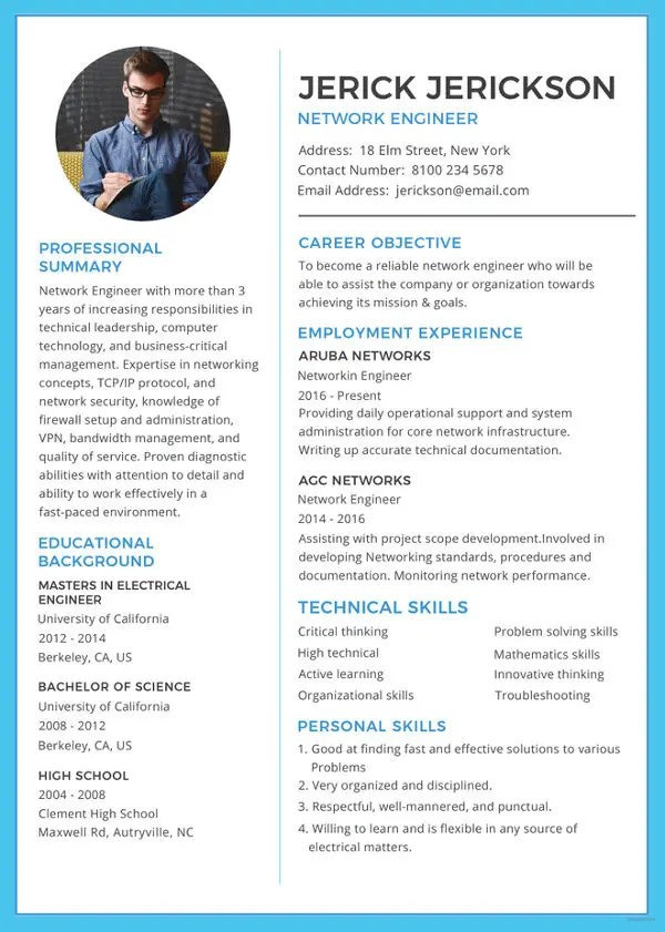 Network Engineer Resume Template – 9 Free Word Excel