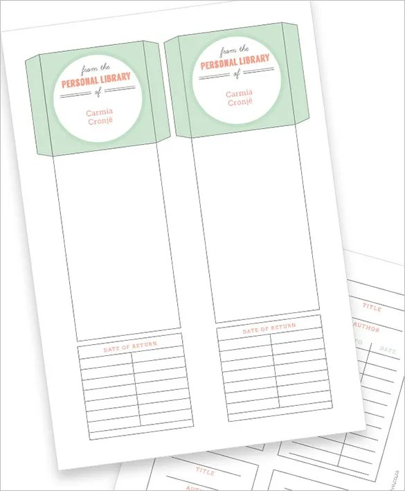 library card template word