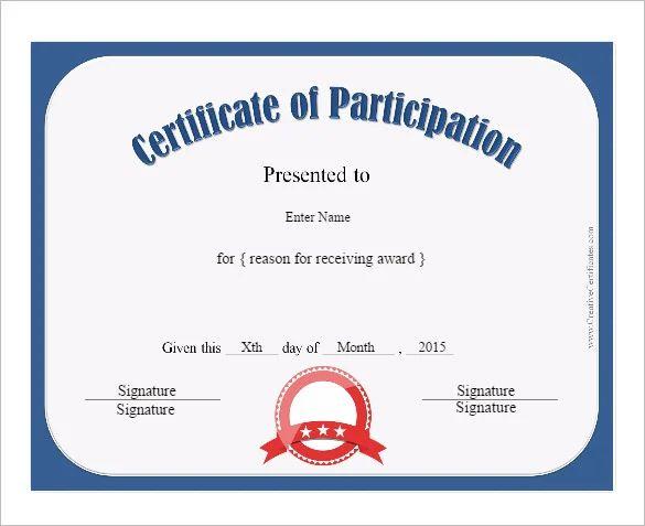 sample certificate of participation in seminar