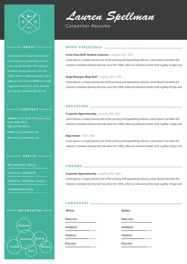 Carpenter Resume Template  8 Free Word Excel PDF Format Download  Free  Premium Templates