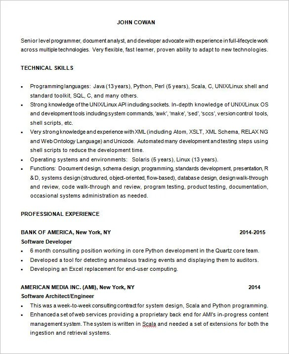 Programming Resume Examples - Examples of Resumes