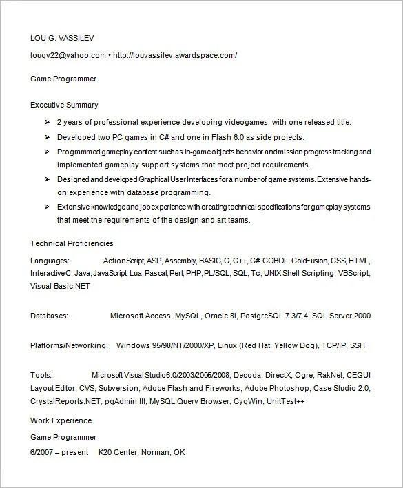programmer resume template 8 free samples examples format - Programmer Resume Sample