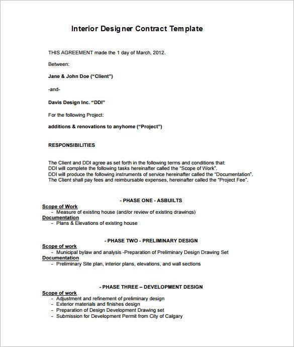 interior design contracts templates