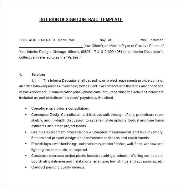 Interior Design Letter Of Agreement Template Ideal Vistalist Co