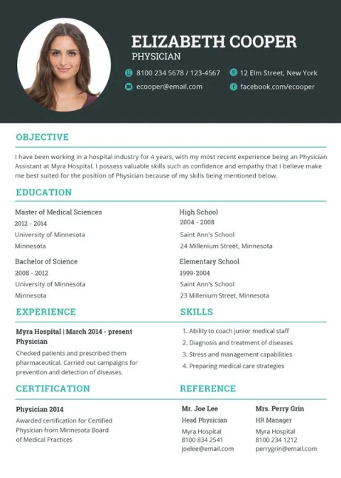 Physician Fill In Resume Blank Templates to Print
