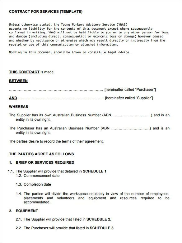 maintenance service contract samples
