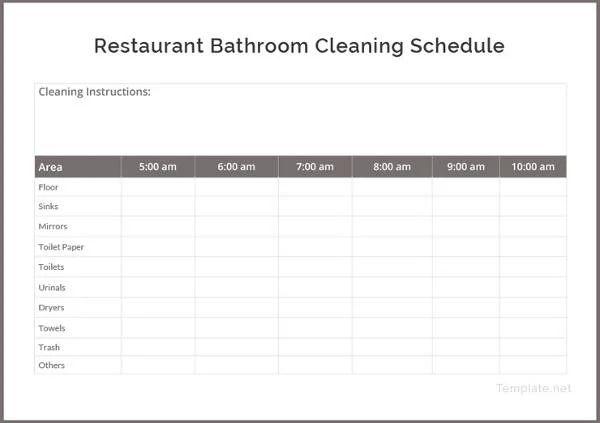 restaurant schedule template