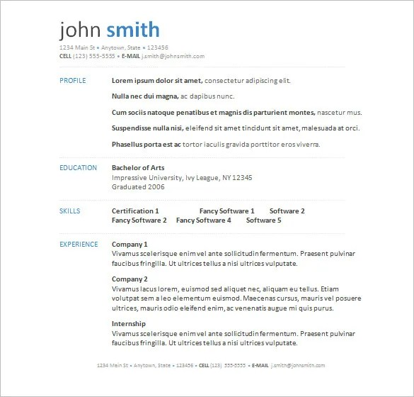 Free Sample Of Resume In Word Format  Resume Sample