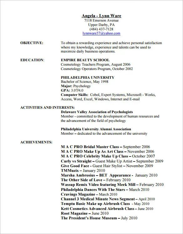 resume templates hair stylist
