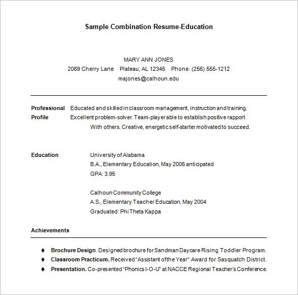 Combination Resume Template – 6 Free Samples Examples Format