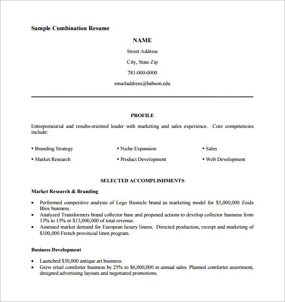 example combination resume salesperson resume sample resum - Samples Of Resume Pdf
