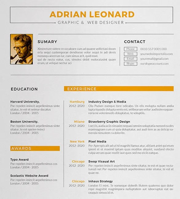 Designer Resume Template – 8 Free Samples Examples Format