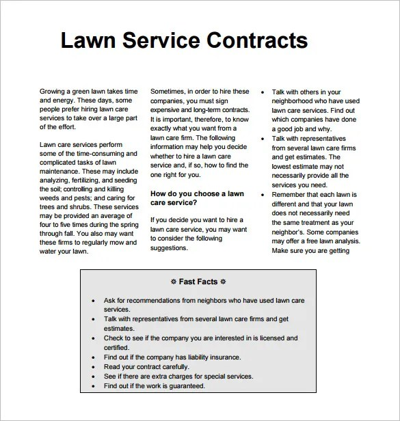 9 Lawn Service Contract Templates