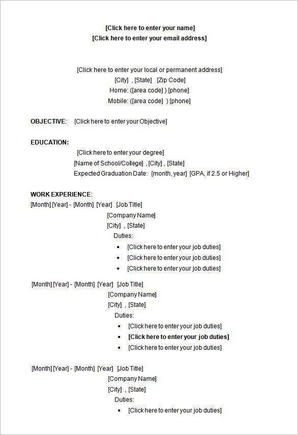 microsoft word resume templates for college students