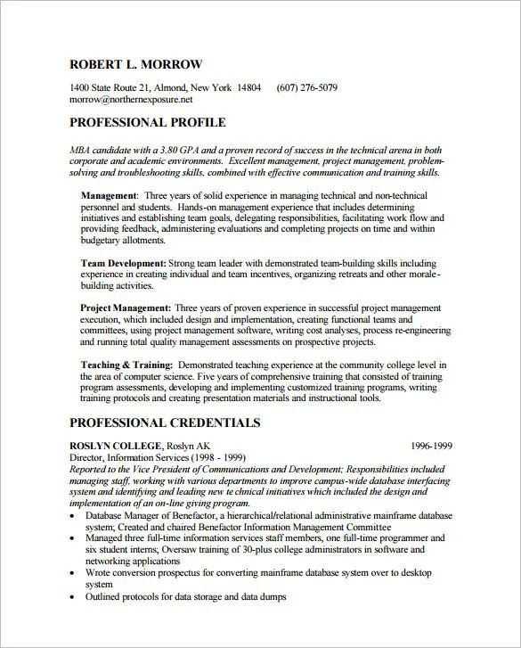 management resume examples 2015