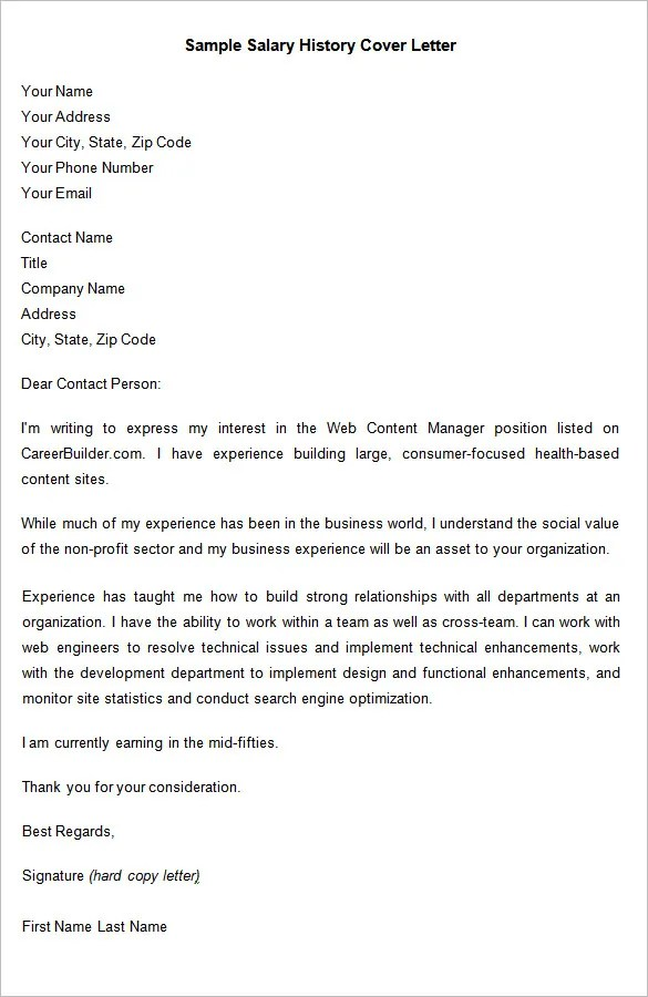 how to address salary expectations in cover letter template for salary history in cover letter