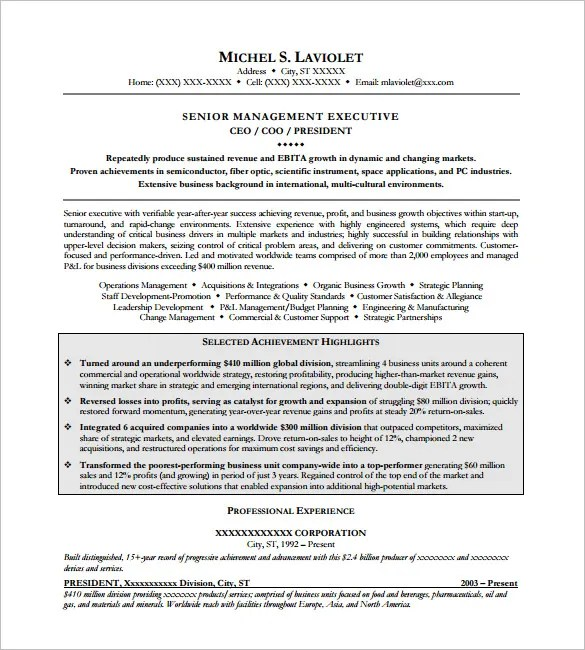 CEO Resume Template  11 Free Samples Examples Format