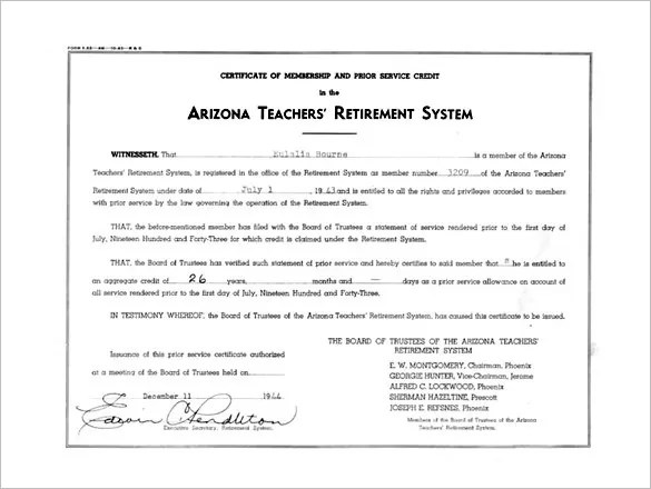 Retirement Certificate New Certificate Of Appreciation