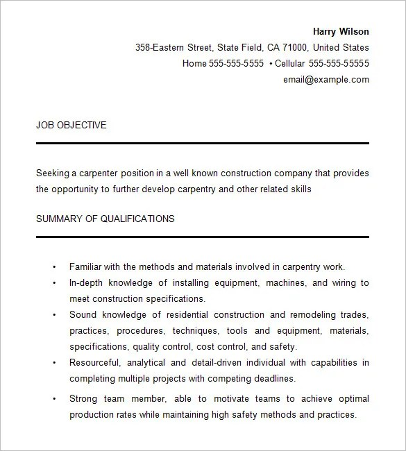 Carpenter Resume Template – 9 Free Samples Examples