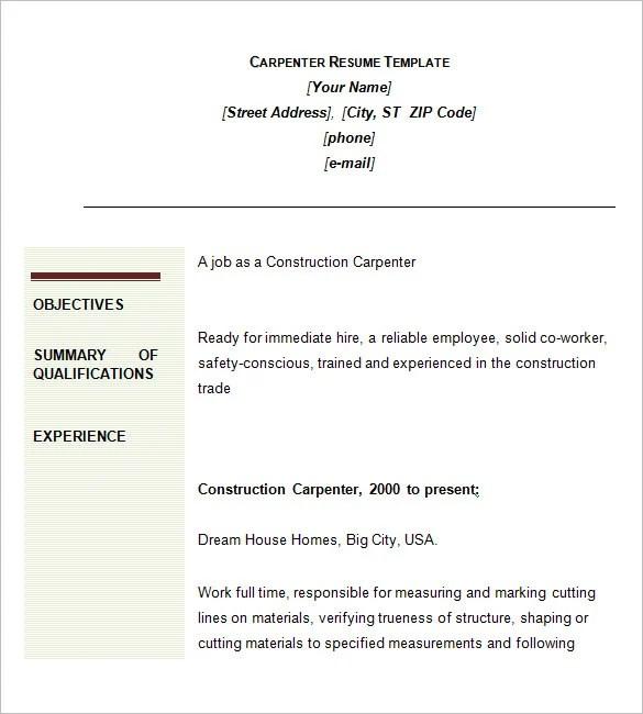 Carpenter Resume Template  9 Free Samples Examples Format Download  Free  Premium Templates