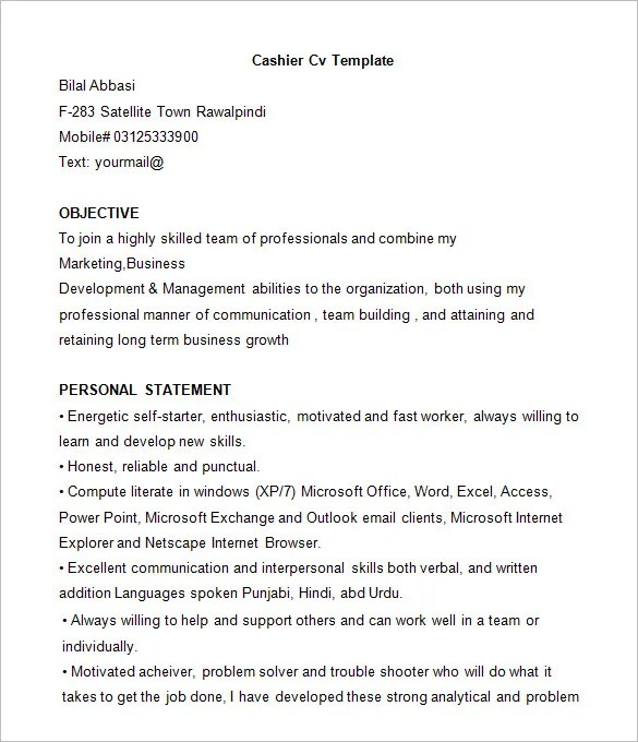 Resume Format For Cashier Unforgettable Part Time Cashiers Resume