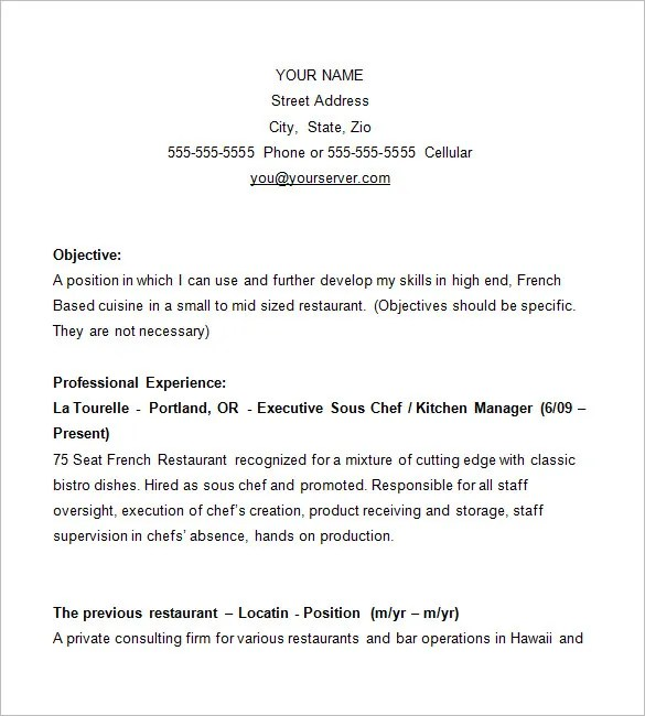 restaurant cook resume sample - April.onthemarch.co