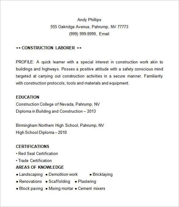 Examples Of Construction Resumes