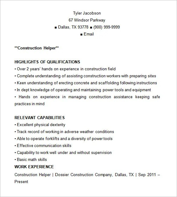 construction resume template 9 free samples examples format - Construction Resume Sample