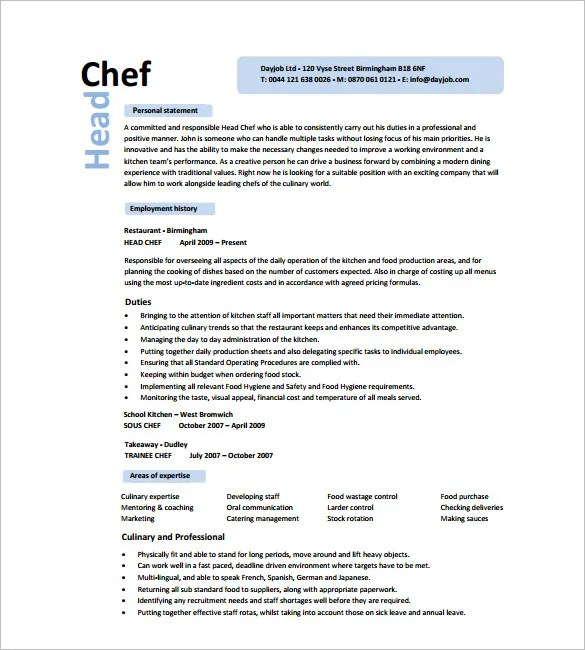 88 Chef Resume Template Chef Resume Examples Objective