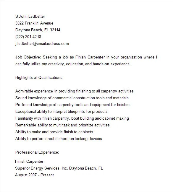 Carpenter Resume Template  9 Free Samples Examples Format Download  Free  Premium Templates