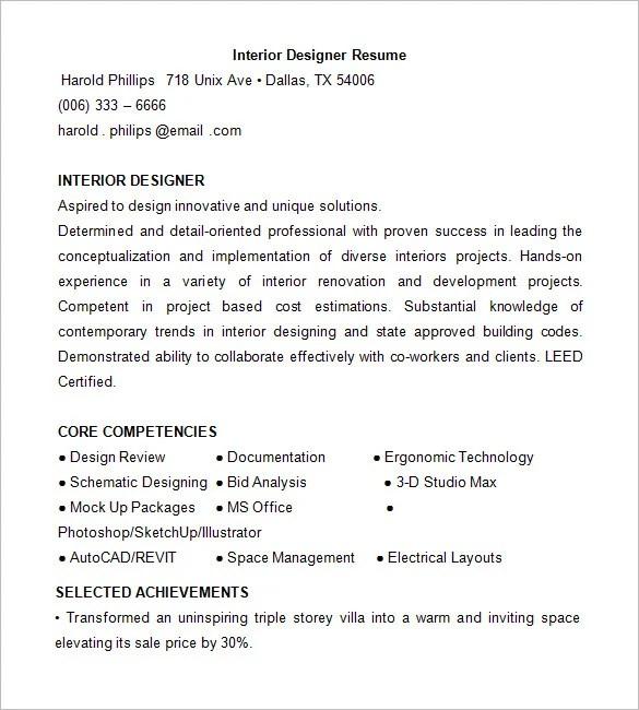 Free Interior Design Resume Templates