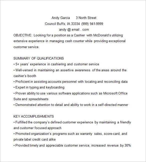 Cashier Resume Template – 16 Free Samples Examples