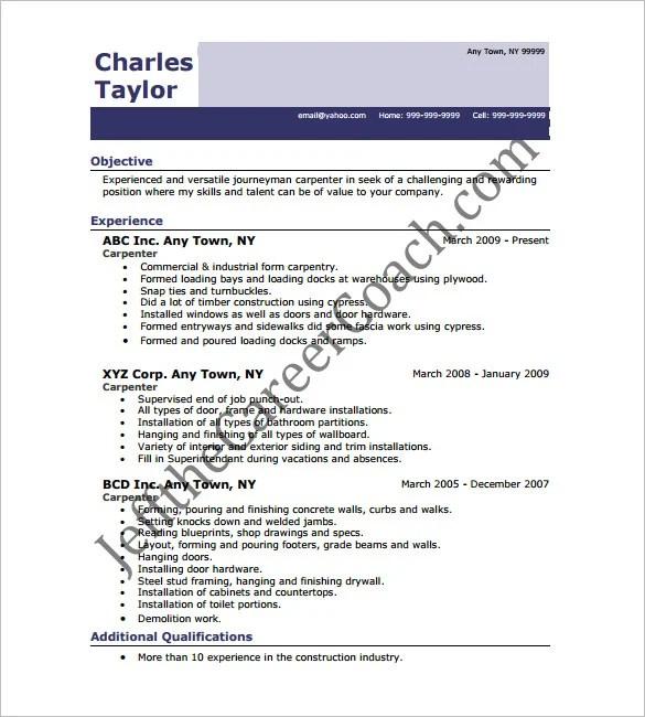 Carpenter Resume Template – 9 Free Samples Examples Format