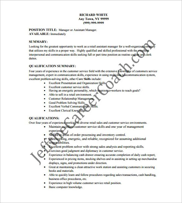 Cashier Resume Template  16 Free Samples Examples Format Download  Free  Premium Templates