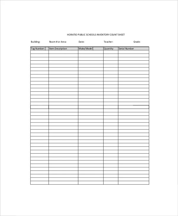 sample narcotic count sheet