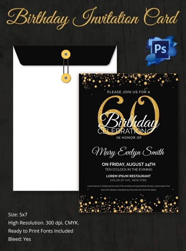 60Th Birthday Invitation Card Template Free Download