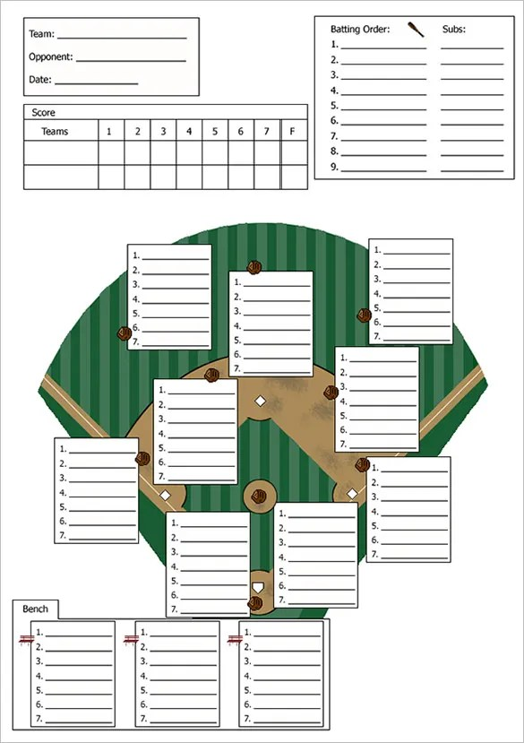 t ball field diagram printable for labeling parts of teeth 9+ baseball line up card templates - doc, pdf, psd, eps   free & premium