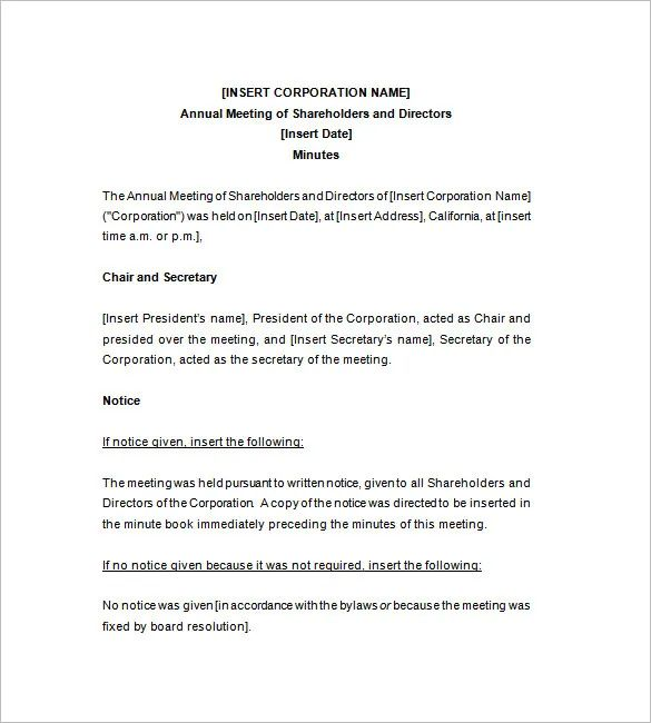 free corporate minutes template